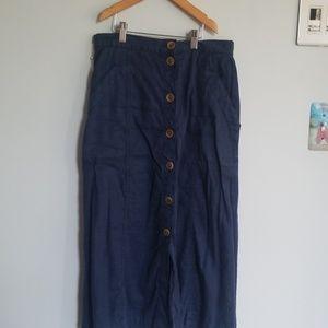 Long pencil indigo blue skirt